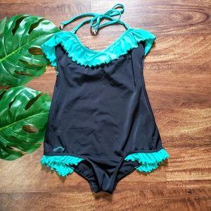 Billabong Black & Teal One Piece Swimsuit